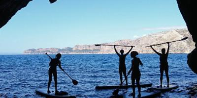 Excursion de paddle surf Laguna Azul Secreta y cuevas